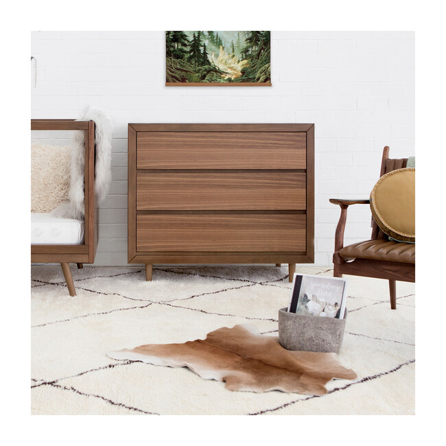 Nifty 3-Drawer Dresser In Walnut Finish