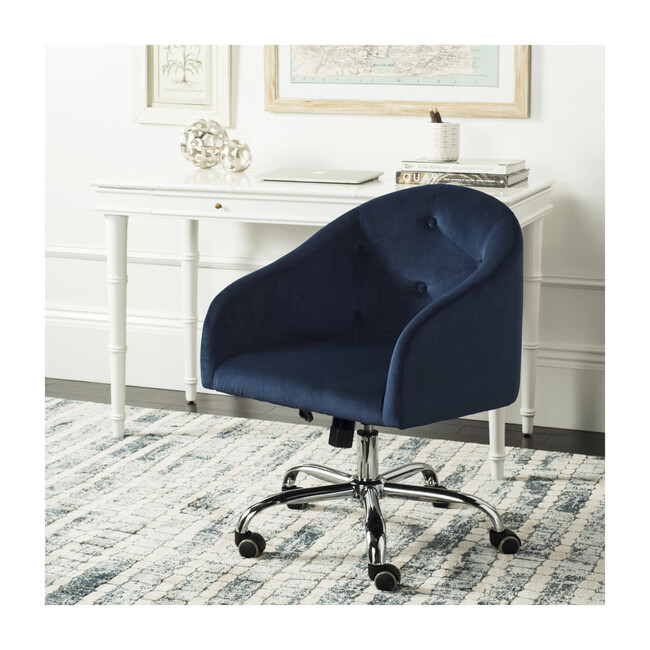 Amy Tufted Swivel Office Chair, Navy