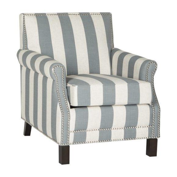 Easton Striped Club Chair, Grey/White