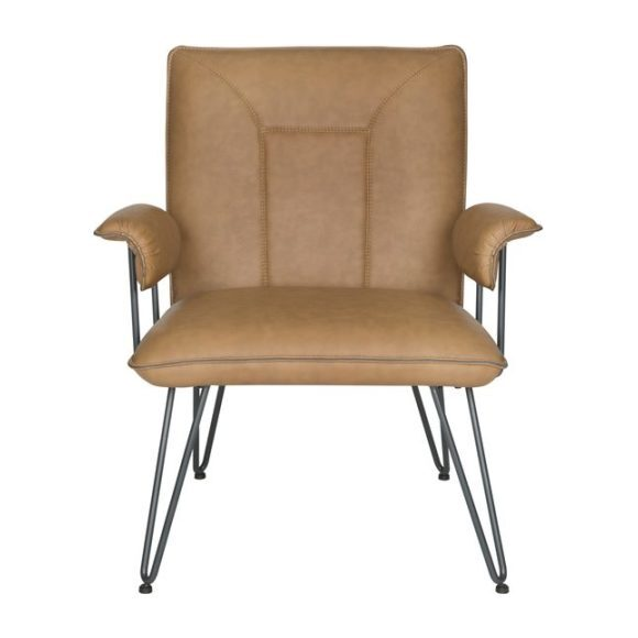 Johannes Mid-Century Modern Leather Arm Chair, Cognac