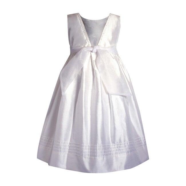 Melody Embriodered Dress, White Silk