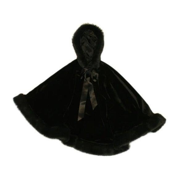 Girls Velvet Hooded Cape with Faux Fur Trim, Black