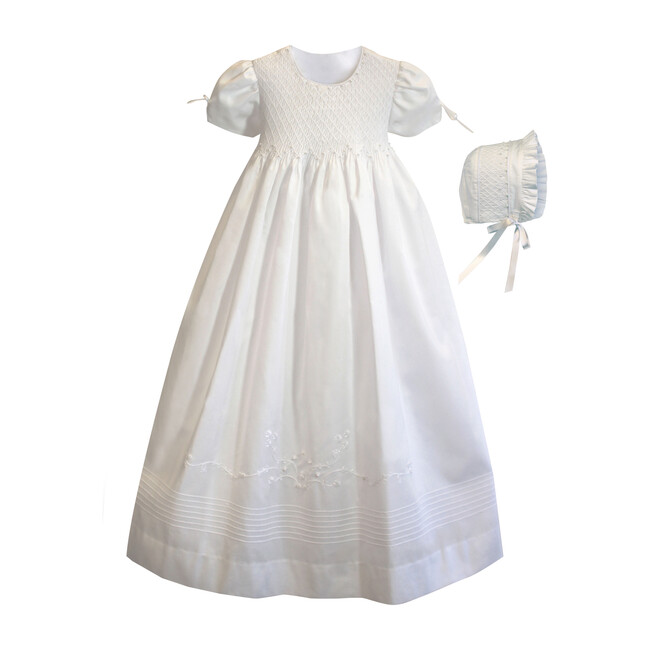 Pearl Gown & Bonnet, White Cotton