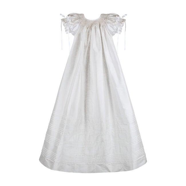 Garland Gown & Bonnet, White Silk