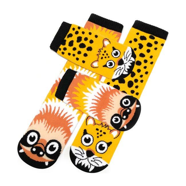 Sloth & Cheetah, Mismatched Socks Set, Kid & Adult Bundle