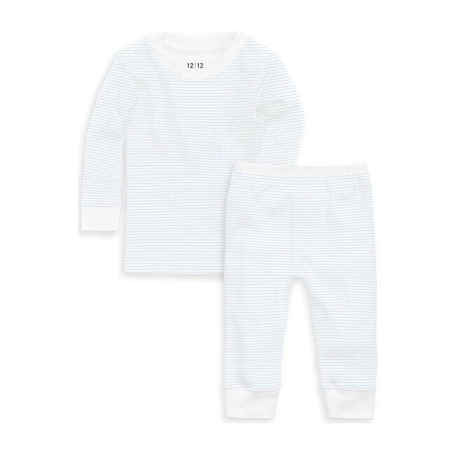 Organic Long Sleeve Pajama Set, Blue Stripe
