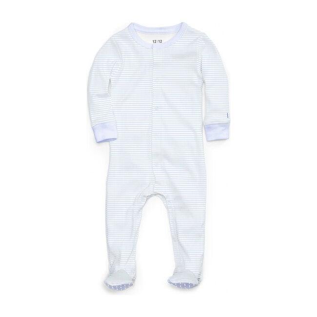 Organic Footed Pajamas, Blue Stripe