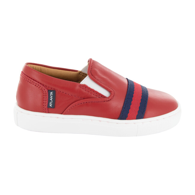 Slip On Sneaker, Red Smooth Leather