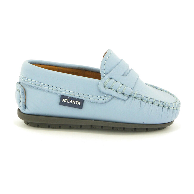 Toddler Penny Moccasins in Smooth Leather, Sky Blue