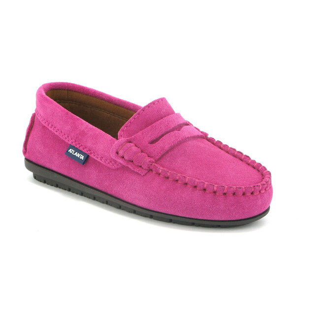 Penny Moccasins in Suede Leather, Fuchsia