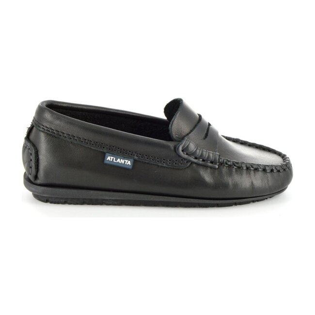 Penny Moccasins in Rustic Leather, Black