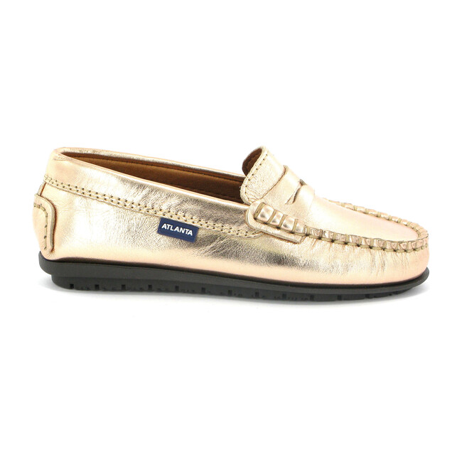 Penny Moccasins in Metallic Leather, Rose Gold