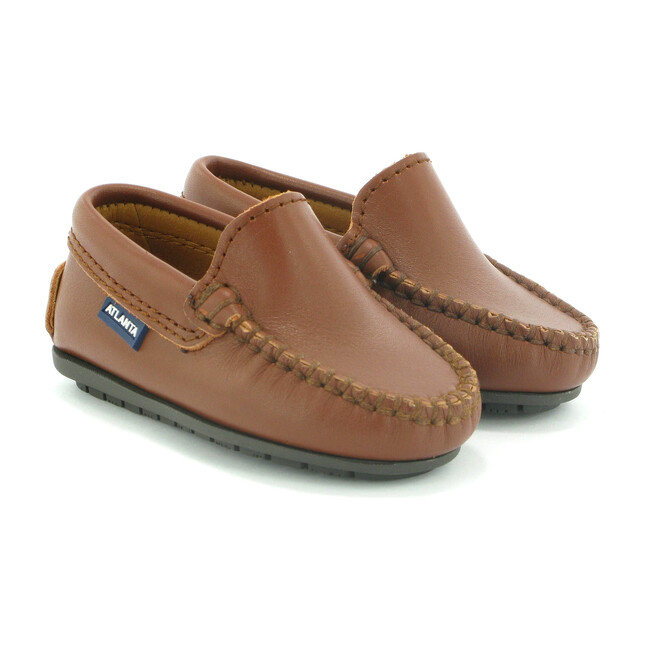 Toddler Plain Vamp Moccasins in Smooth Leather, Cuoio