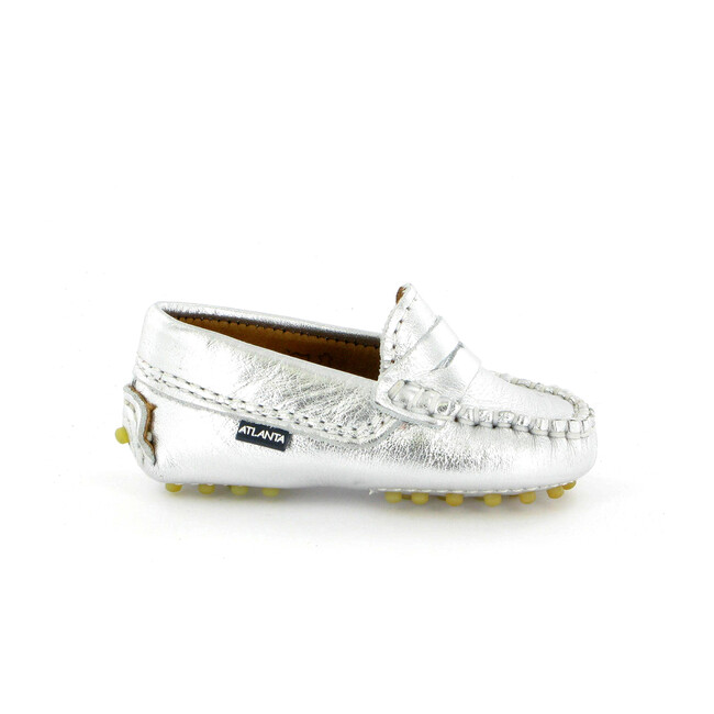 Baby Penny Moccasins in Metallic Leather, Silver