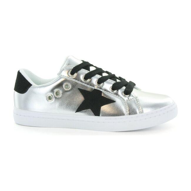 Mia Star Lace Sneaker, Silver & Black