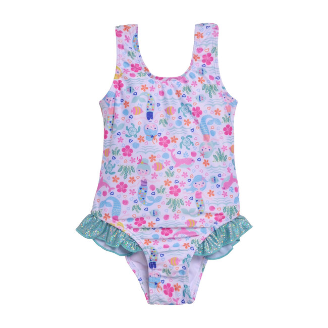 Delaney Hip Ruffle Swimsuit, Mermaid Lagoon