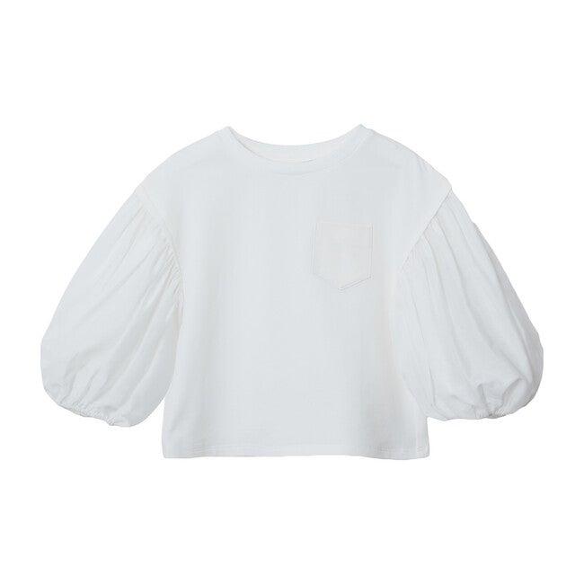 Rosa Balloon Mid Sleeve Shirt, White
