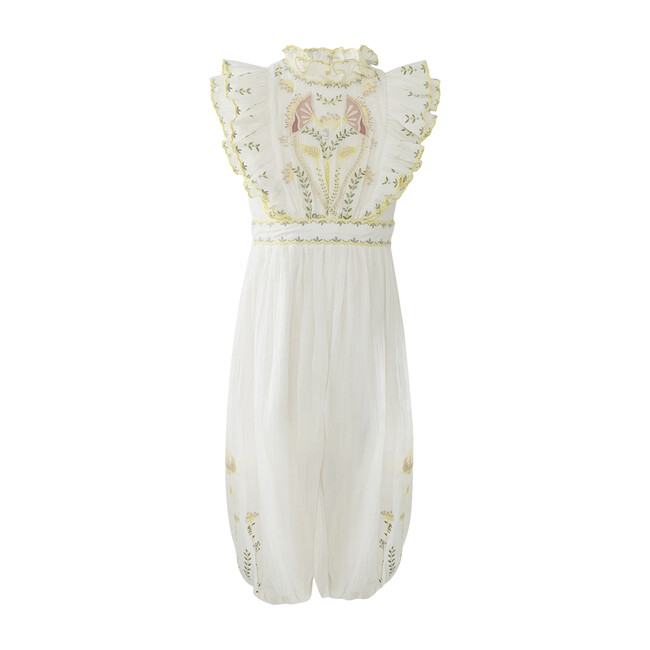River Crinkle Embroidery Jumpsuit, White