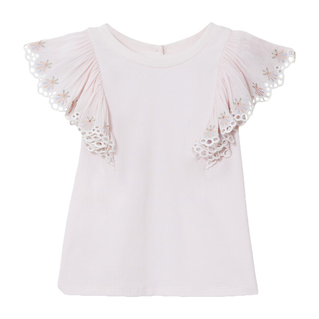 Anne Flare Sleeve Embroidery T-Shirt, Ballet Pink