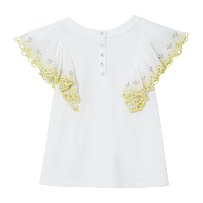 Anne Flare Sleeve Embroidery T-Shirt, White