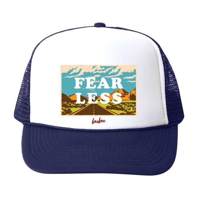 Fear Less Hat, Blue and White