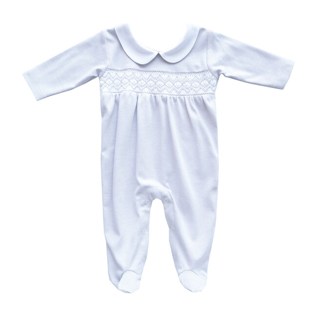 Footie Embroidered Pajama, Grey & White Lines