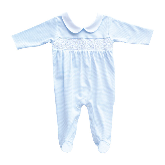 Footie Embroidered Pajama, Light Blue & White Lines