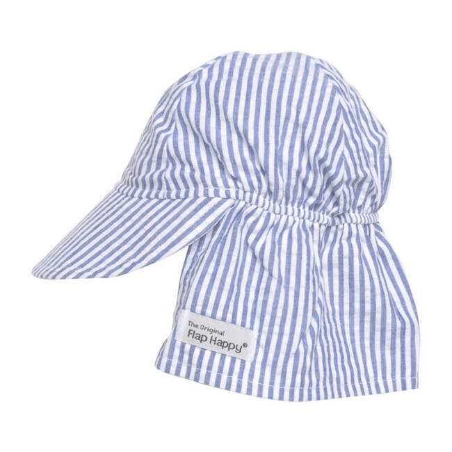 UPF 50+ Original Flap hat, Chambray Stripe Seersucker - Hats - 1
