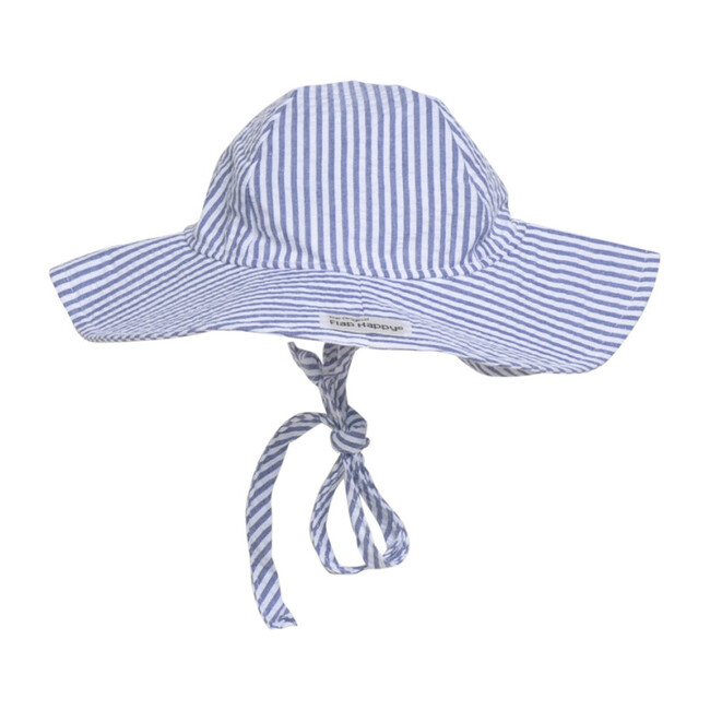 UPF 50+ Floppy Hat, Chambray Stripe Seersucker - Hats - 1