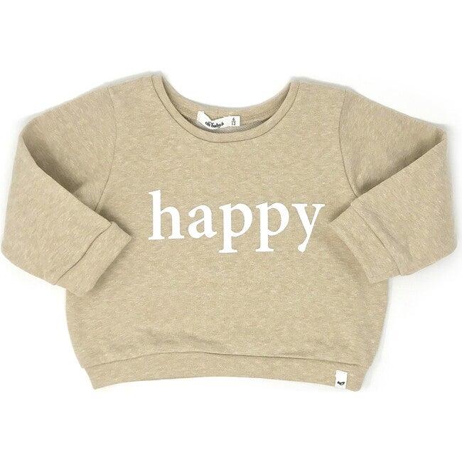 "Brooklyn Boxy Sweatshirt ""happy"" White Ink, Sandy"