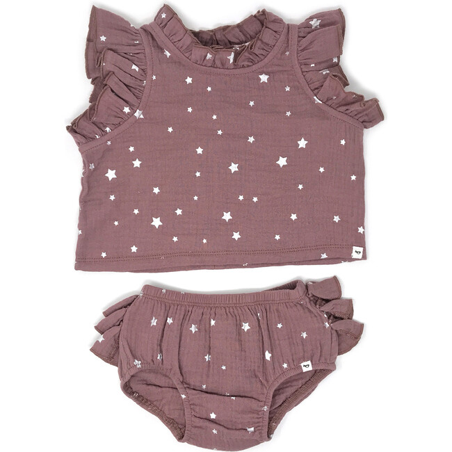 Lola Top and Tushie Set, Silver Mini Stars Thistle - Mixed Apparel Set - 1