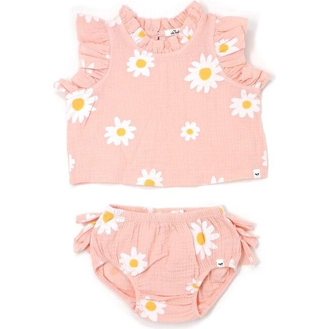 Lola Top and Tushie Set, White Daisies Pale Pink - Mixed Apparel Set - 1