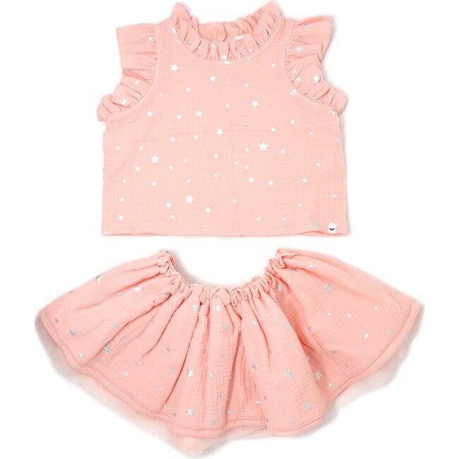 Lola Top and Tutu Skirt Set, Silver Mini Stars Pale Pink