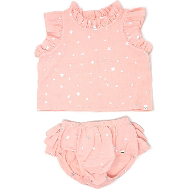 Lola Top and Tushie Set, Silver Mini Stars Pale Pink
