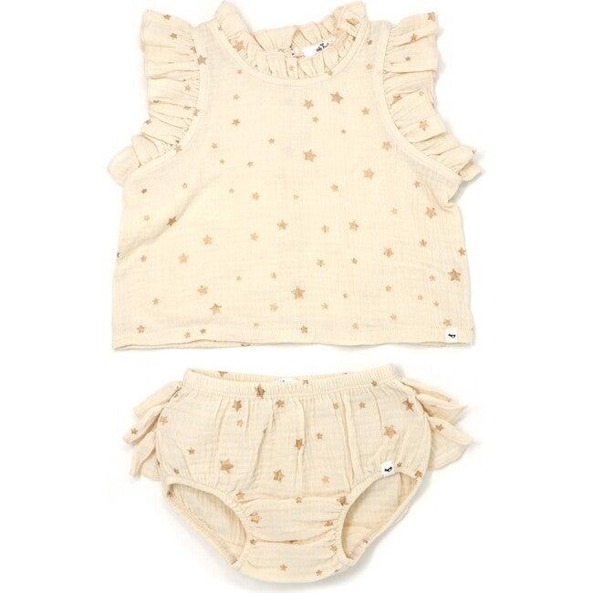Lola Top and Tushie Set, Rose Gold Mini Stars Natural - Mixed Apparel Set - 1