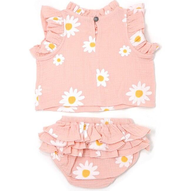 Lola Top and Tushie Set, White Daisies Pale Pink