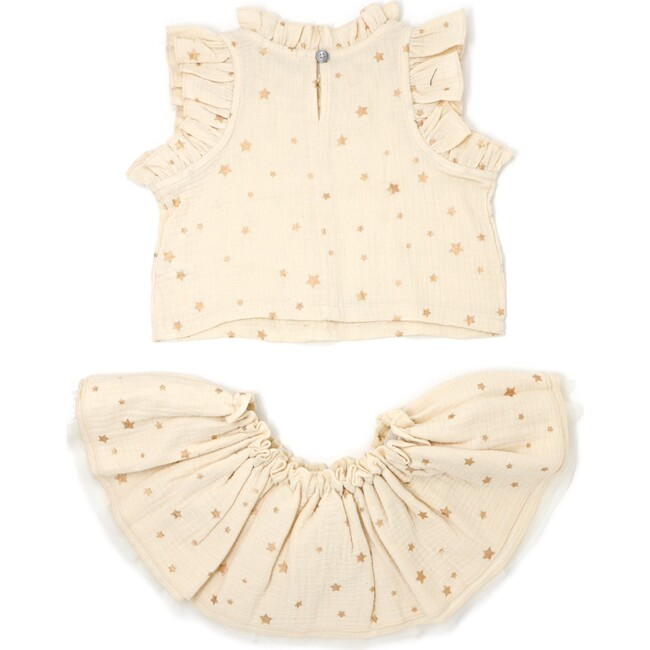 Lola Top and Tutu Skirt Set, Rose Gold Mini Stars Natural