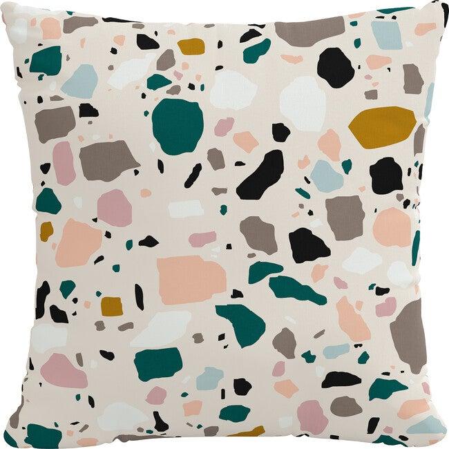 Indoor/Outdoor Decorative Pillow, Terrazzo Emerald Ochre