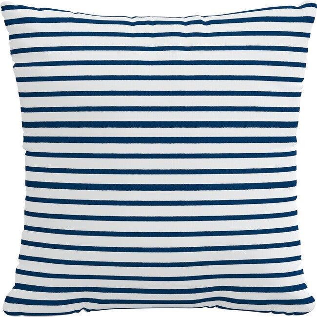 Indoor/Outdoor Decorative Pillow, Nautical Navy Strip