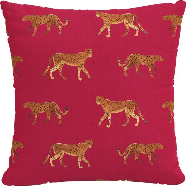 Indoor/Outdoor Decorative Pillow, Cheetah Walk Raspberry