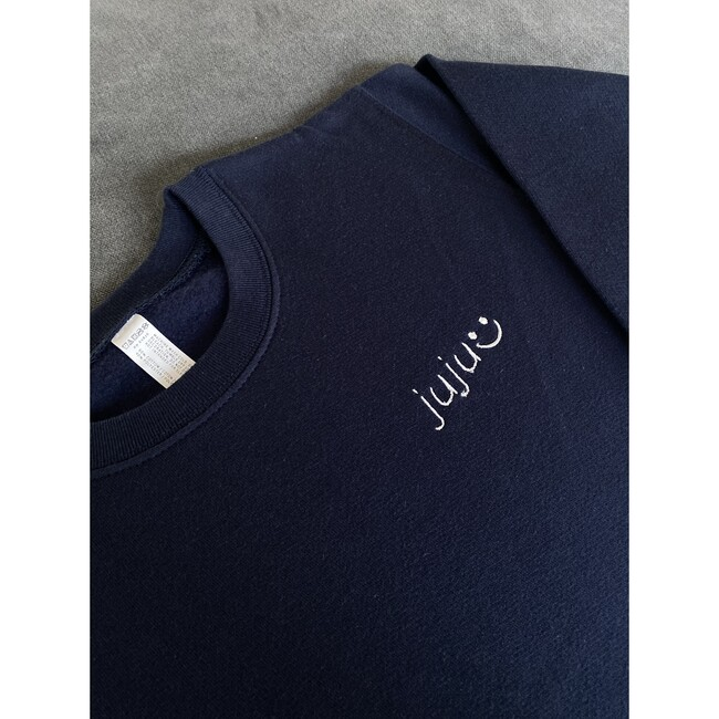 Little Kid Small Embroidery Classic Crewneck , Navy