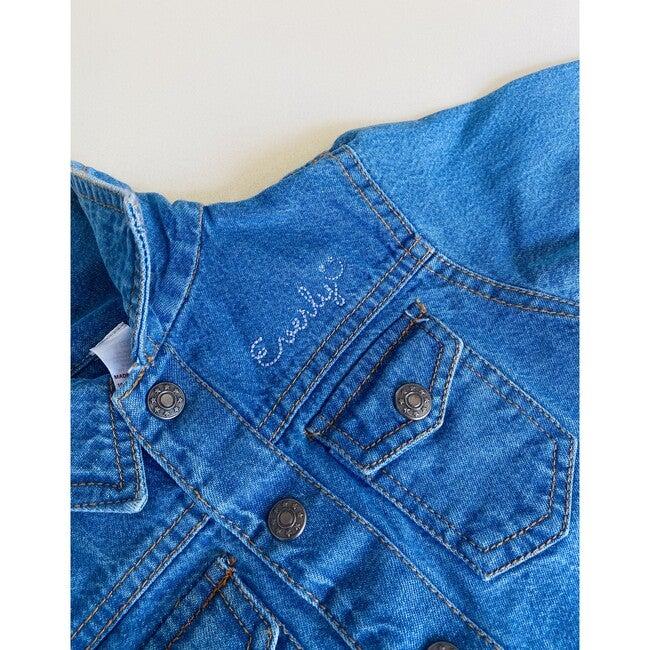 Baby Front Embroidery Denim Jacket, Medium Blue