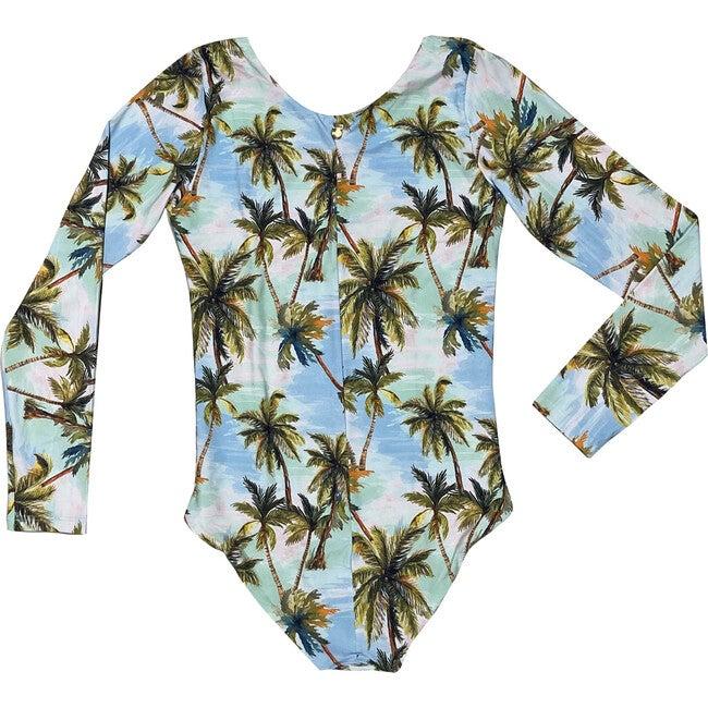 Retro Hawaii Nilo One Piece, Blue Palm Print