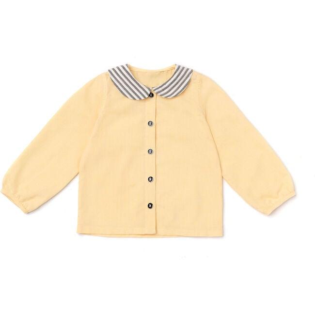 Peter Pan Collar Shirt, Yellow Stripe