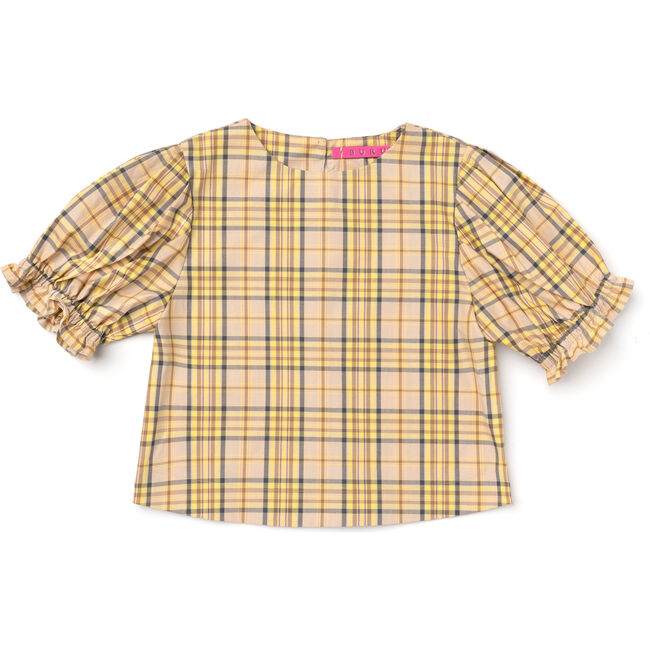 Women's Puff Sleeve Top, Yellow Plaid