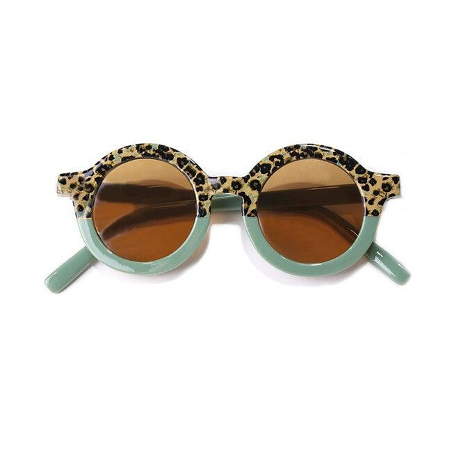 Round Retro Two Tone Sunglasses, Succulent Green Cheetah