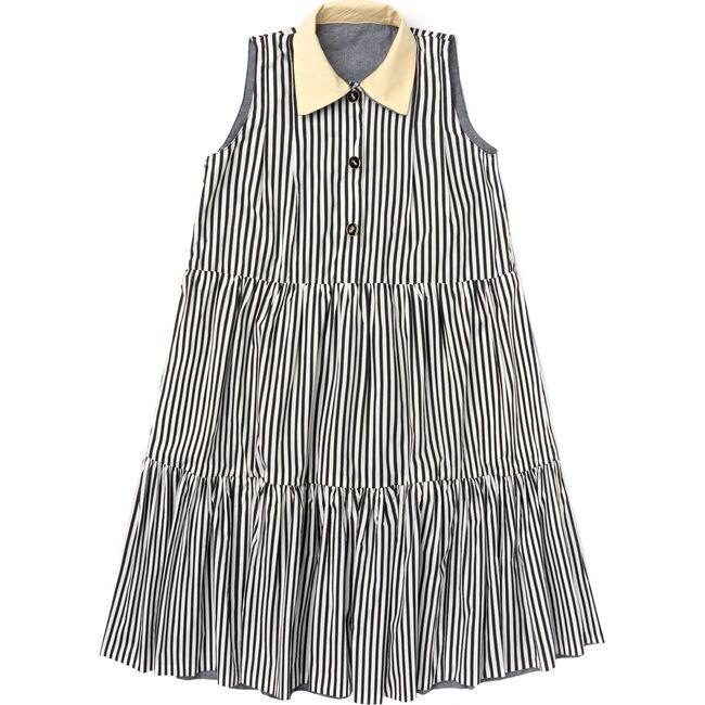 Women's Evelyn Reversible Tiered Dress, Black Stripe