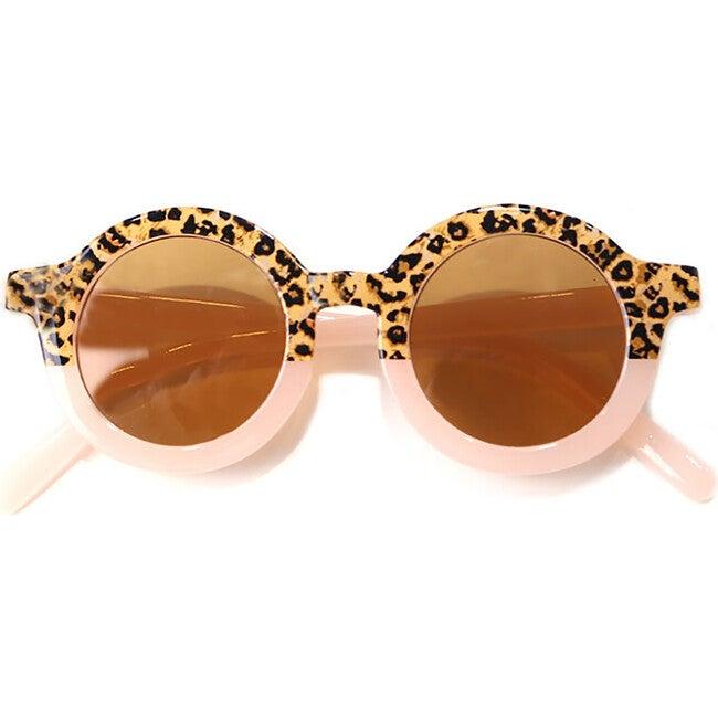 Round Retro Two Tone Sunglasses, Pink Cheetah
