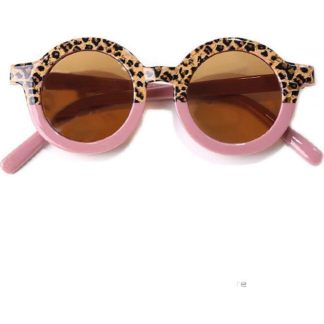Round Retro Two Tone Sunglasses, Dusty Rose Cheetah