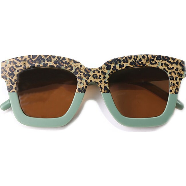 Cat Eye Rectangle Two Tone Sunglasses, Succulent Green Cheetah